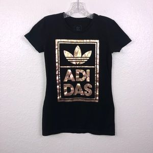 Tops - Adidas Pink black fitted t shirt size small
